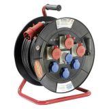 Макара удължител-разклонител CEE 40m, 7-ца, 5x2.5mm2, с термозащита, черна, IP44, AS Schwabe, 26101