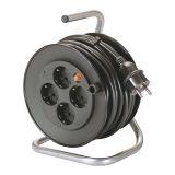 Макара удължител-разклонител, шуко, 15m, 4-ка, 3x1.5mm2, с термозащита, черна, IP20, AS Schwabe, 10180