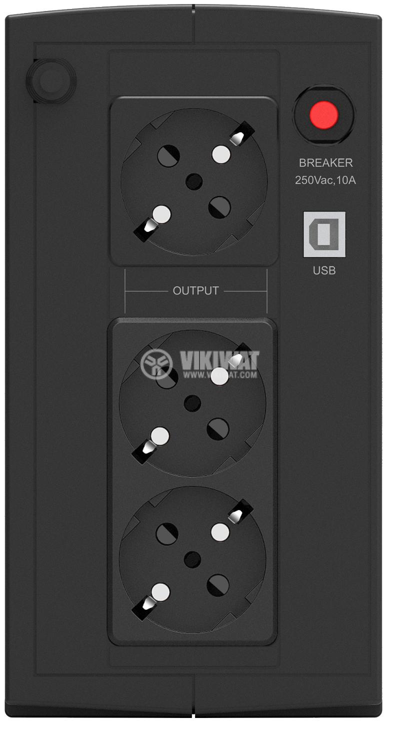 Аварийно захранване UPS Basic VI 1000 SB, 1000VA, 162~290VAC, 600W, линейно-интерактивен, модифицирана синусоида - 3