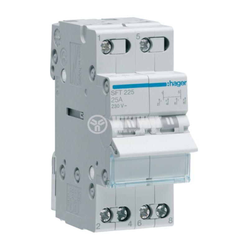 Превключвател разединителен, двуполюсен, 25A, 230V, трипозиционен, SFT225