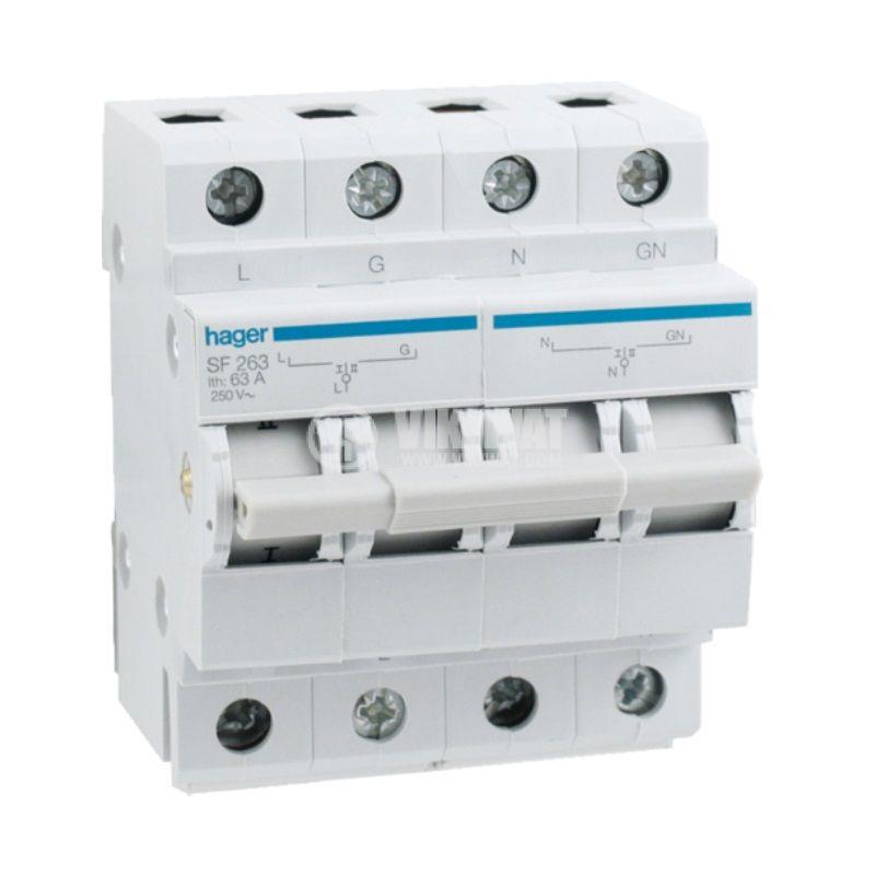 Превключвател разединителен, двуполюсен, 63A, 230V, трипозиционен, SF263