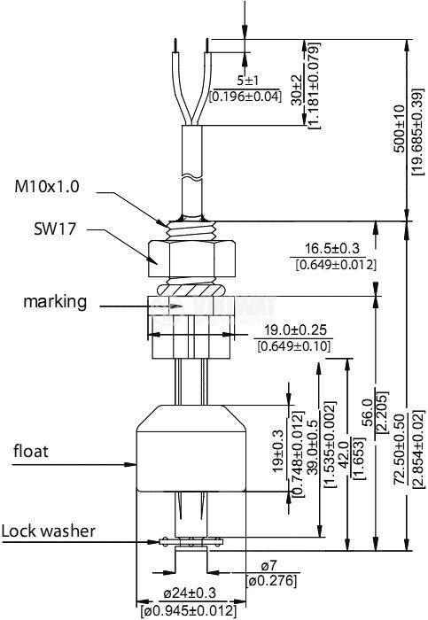 Датчик за ниво на течности 200VAC/VDC, NC, нерегулируем - 2