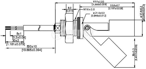 Датчик за ниво на течности 1000VAC/VDC, NO, нерегулируем  - 2