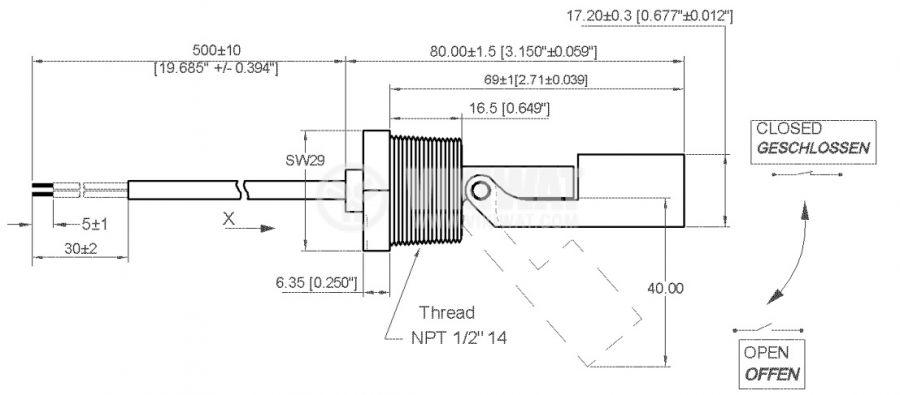 Датчик за ниво на течности 200VAC/VDC, NO, нерегулируем - 2