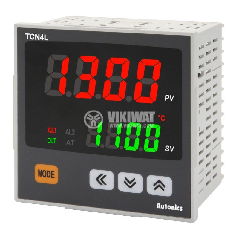 Temperature regulator TCN4L-24R, 100~240VAC, -100~1700°C, Cu50, Pt100, J, K, L, R, S, T, relay/SSR+2 alarms - 1
