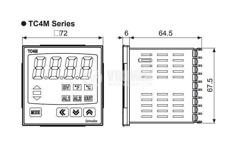 Temperature regulator 24VAC/24~48VDC, -100~1700°C, Cu50, Pt100, J, K, L, R, S, T, relay/SSR+2 alarms - 2