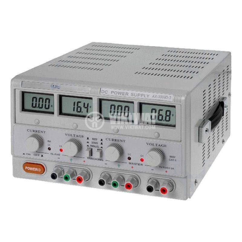 DC лабораторен захранващ блок, линеен, AX-3005D-3, до 5A, до 30V, 2+1 канала, 315W