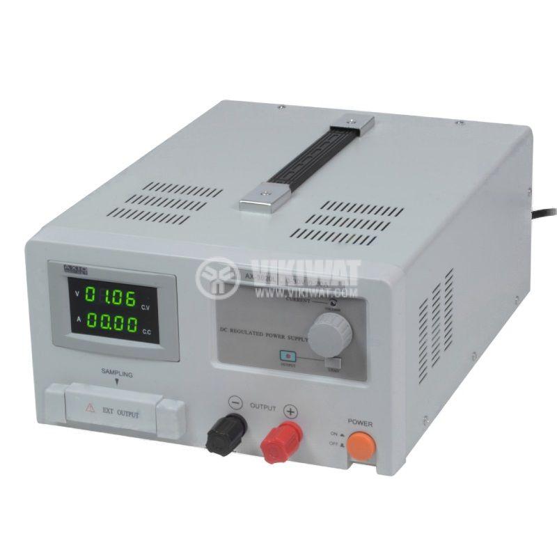 DC лабораторен захранващ блок, линеен, AX-3020L, до 20A, до 30V, 1 канал, 600W