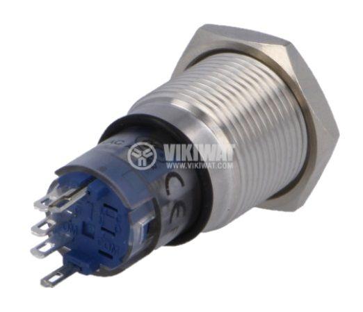 Бутонен превключвател, бутон, вандалоустойчив, ON-ON, 1A/24VDC, 0.5A/220VAC, SPDT, панелен - 2
