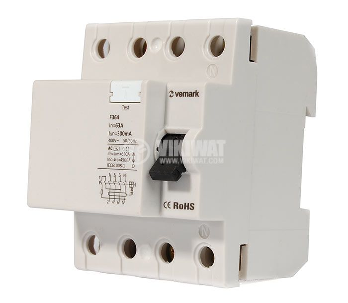 Residual Current Circuit Breaker (RCCB) 4P F364 230VAC 63А 300mА - 1