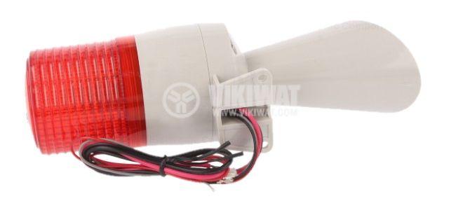 Сирена със сигнална лампа 100dB, 24VDC, ABS, IP54 - 3
