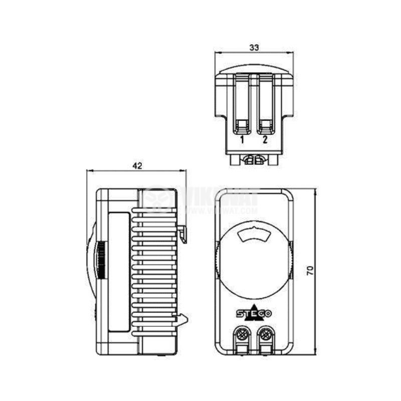 Терморегулатор, биметален, 01115.0-00, 0~60°C, 10A/250VAC, DIN - 2