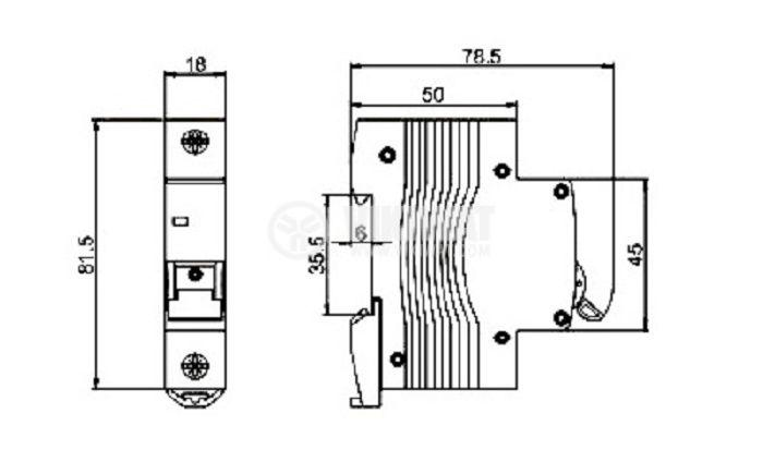 Предпазител, автоматичен, еднополюсен, 1x63A, DZ47-60 Multin9, C крива, DIN шина - 6
