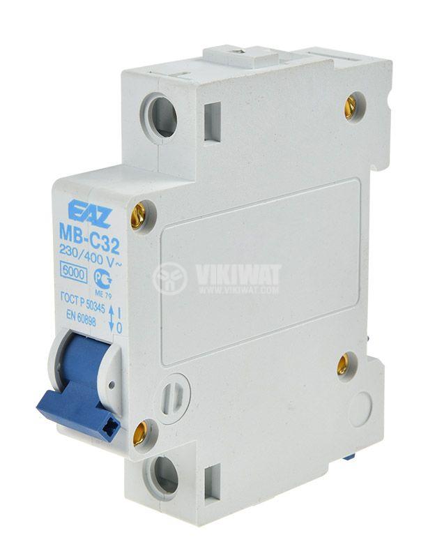 Предпазител, автоматичен, еднополюсен, 1x32A, EAZ MB-C40, C крива, DIN шина - 1