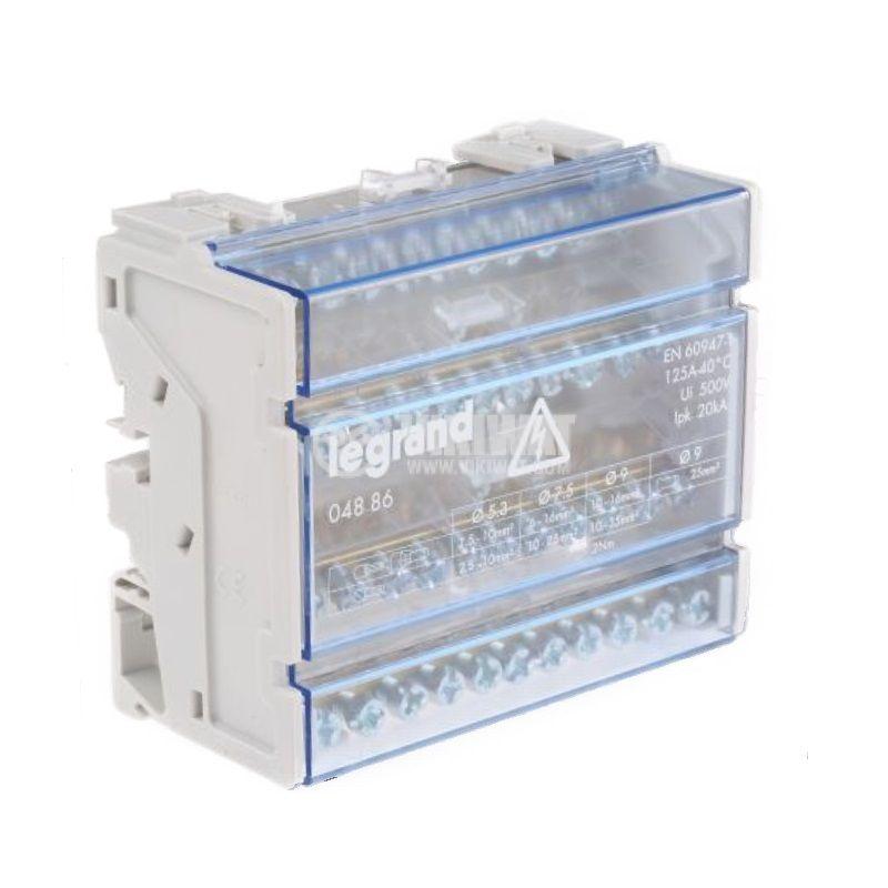 Разпределителен клемен блок 4886, 4P, 6 модула, 125A, 400V - 1