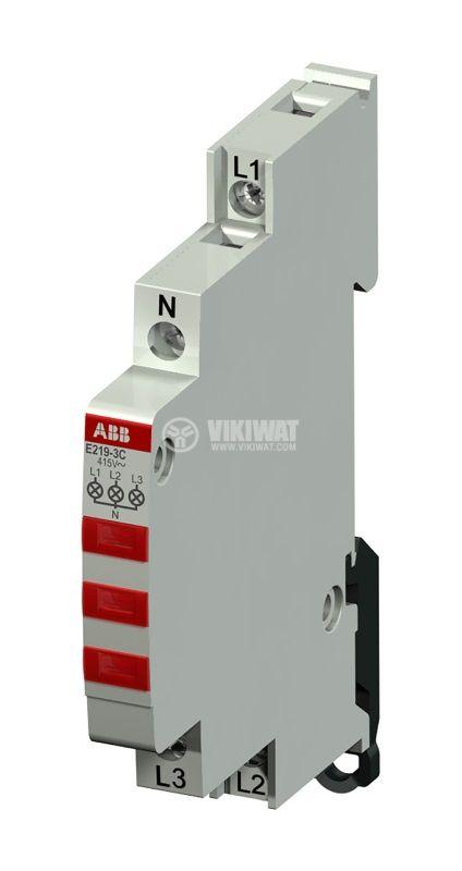 LED индикатор, за три фази, червен, 230~415VAC, за DIN шина, ABB, 2CCA703900R000
