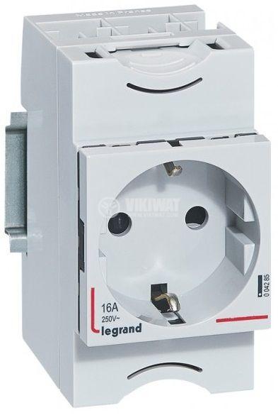 Електрически контакт, единичен, за DIN шина, 16A, 250VAC, бял, LEGRAND 0 042 85