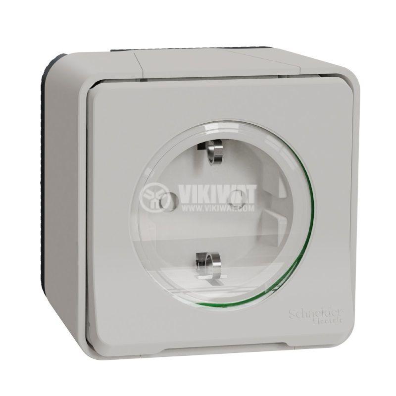 Електрически контакт, 16A, 250VAC, единичен, бял, повърхностен, шуко, MUR39206