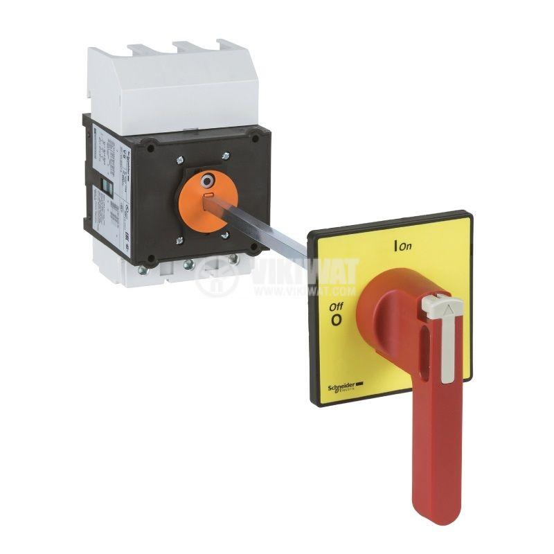 Пакетен електрически прекъсвач, 125А, 690VAC, удължена ос, 3 контакта, 2 позиции, VCCF5, контрол на достъпа