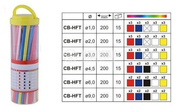 Кутия с термосвиваем шлаух, 200mm, ф1mm, ф2mm, ф3mm, ф4.5mm, ф6mm, ф9mm, 2:1, многоцветен   - 2