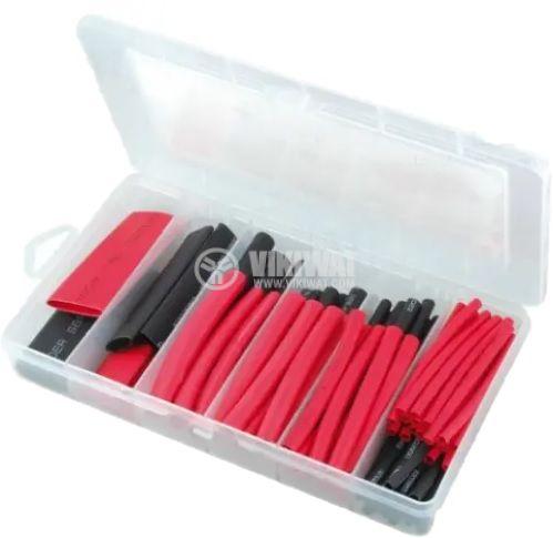 Кутия с термосвиваем шлаух с лепило, 76mm, ф3.2~19.1mm, 3:1, черен/червен