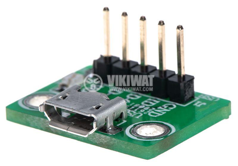 Универсален преходник от micro USB към рейка 5pin 2.54mm  - 1