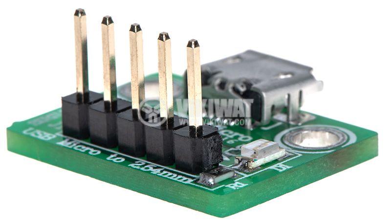 Универсален преходник от micro USB към рейка 5pin 2.54mm  - 3