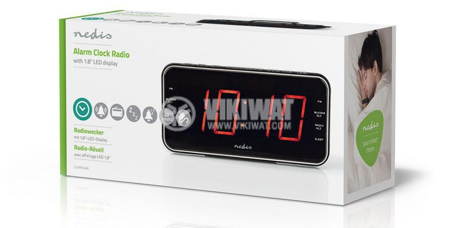 Digital clock with radio and alarm clock CLAR004BK - 8