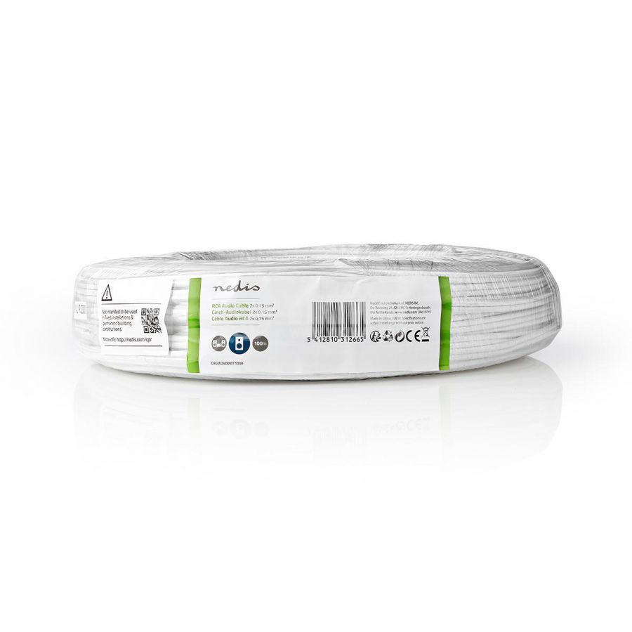 Бял ауди кабел RCA, балансиран кабел, 2 x 0,15, CAGW2400WT1000 Nedis - 3