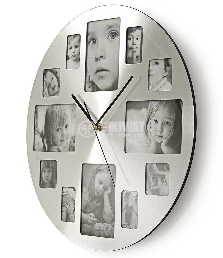 Clock with photo frame for 12 photos, 400mm - 2