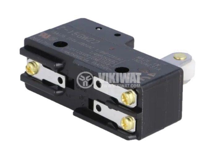 Микропревключвател лост с ролка, SPDT, 15A/250VAC, 49x17x24mm, ON-(ON) - 2
