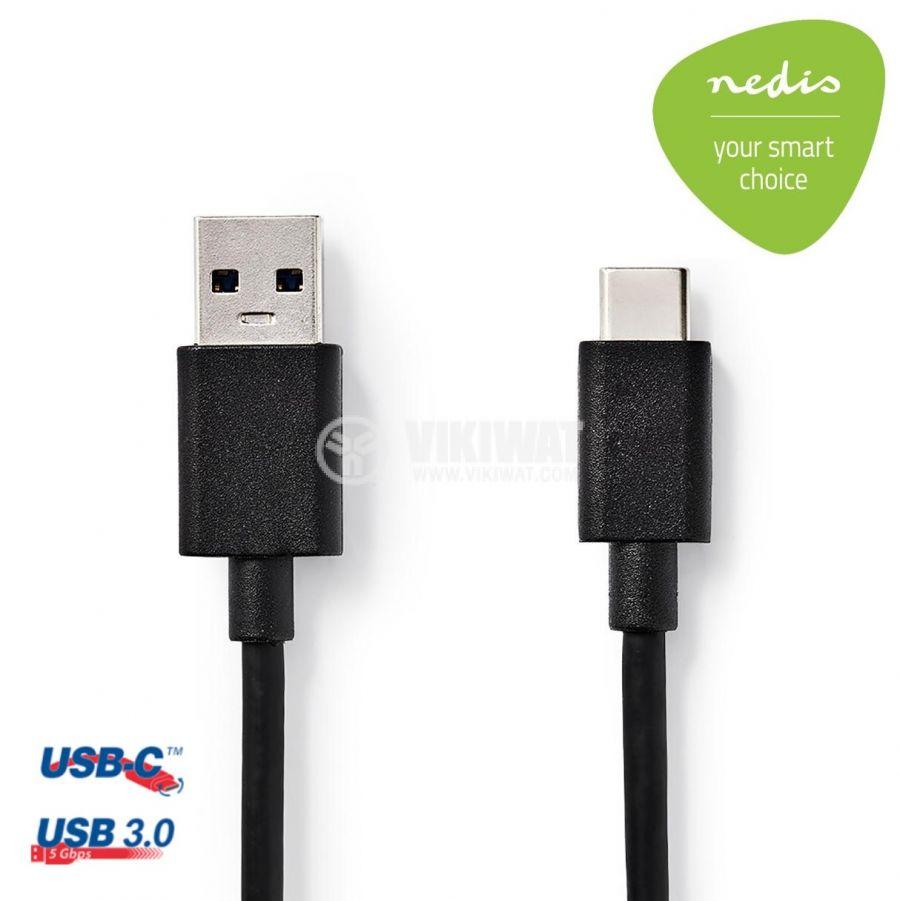 Кабел USB C мъжки към USB A мъжки, 1m, CCGP61600BK10, NEDIS - 1