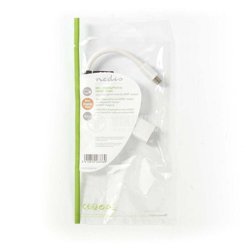 Преход - кабел, mini DisplayPort мъжки към HDMI женски, 0.2м, бял, CCGP37650WT02, NEDIS - 2