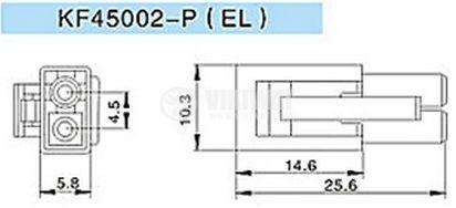 Конектор за обемен монтаж мъжки, VF45002-2P, 2 пина - 2