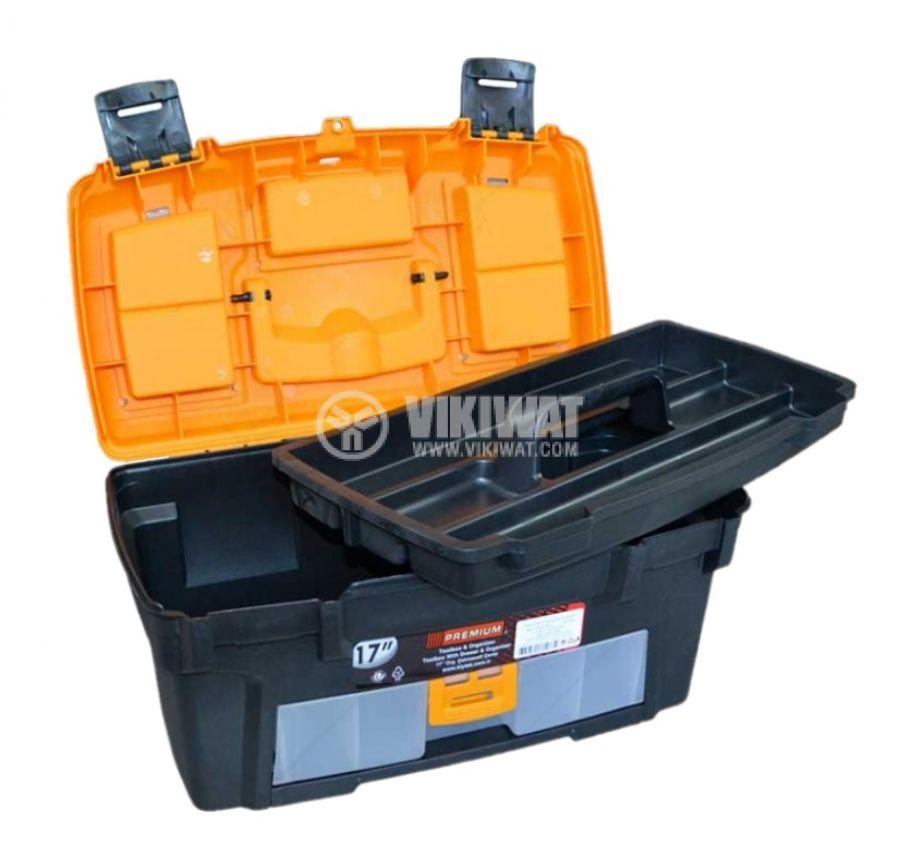 Куфар за инструменти Premium 17'' с тавичка и органайзер 412x270x206mm