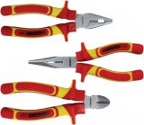 Set of pliers, 180/160mm, 1000V, universal, cutters and semicircular elongated