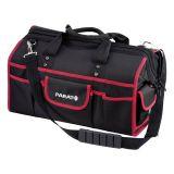 BASIC Softbag M shoulder bag, 33 pockets, with textile handle, black with red edging