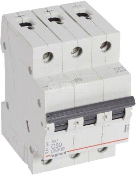 Предпазител автоматичен, триполюсен, 50A, C крива, 400VAC, DIN шина, 419240, LEGRAND