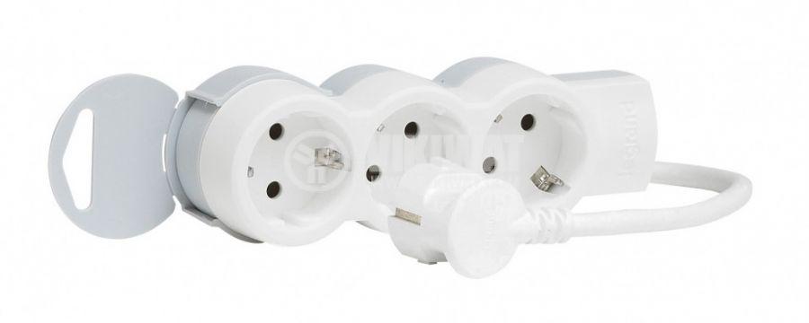 Разклонител тройка 3-ка 1.5m кабел бял LEGRAND 695001