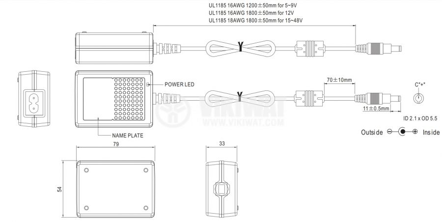 Адаптер 5VDC, 4A, 20W, 80~264VAC, 113~370VDC, импулсен - 2