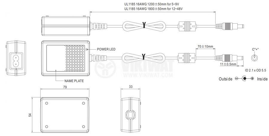 Адаптер 18VDC, 2A, 36W, 80~264VAC, 113~370VDC, импулсен - 2