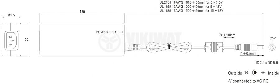 Адаптер 12VDC, 3.34A, 40W, 80~264VAC, 113~370VDC, импулсен - 2