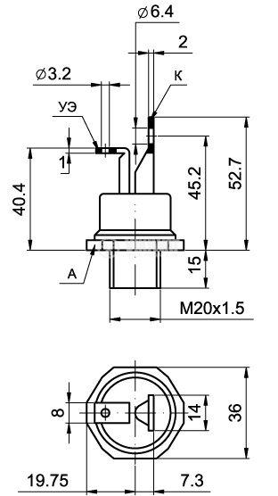 Тиристор Т15-80-12, 1200V, 80A, 300mA - 2