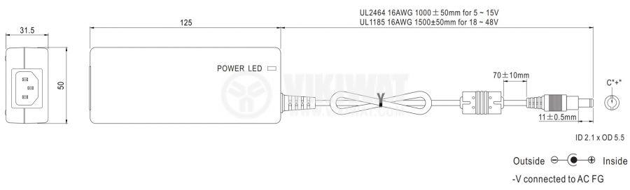 Адаптер 48VDC, 1.25A, 60W, 80~264VAC, 113~370VDC, импулсен - 2