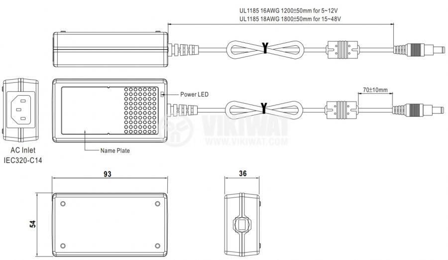 Адаптер 5VDC, 3A, 15W, 85~264VAC, импулсен - 2
