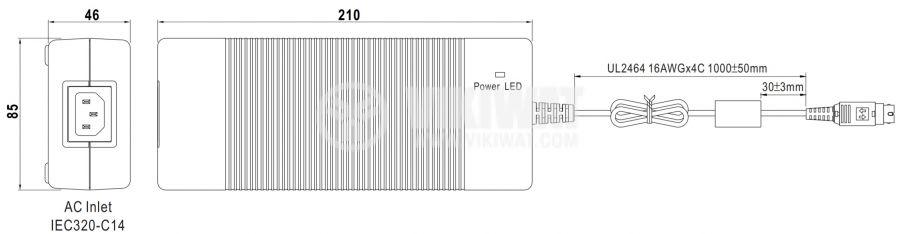 Адаптер 24VDC, 9.2A, 221W, 85~264VAC, 120~370VDC, импулсен - 2