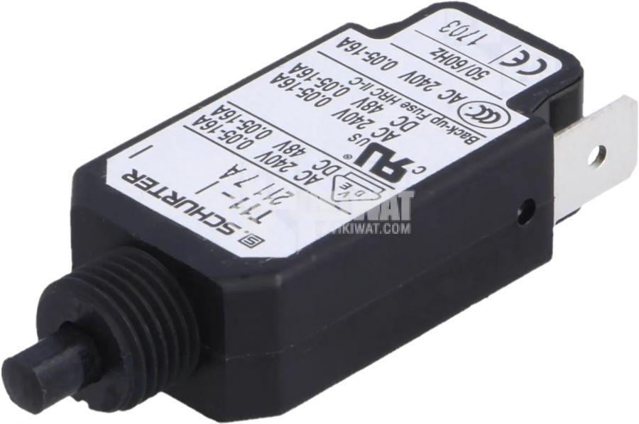 Токова защита SCHURTER T11-211-7A, 240VAC/48VDC, 7A, еднополюсна