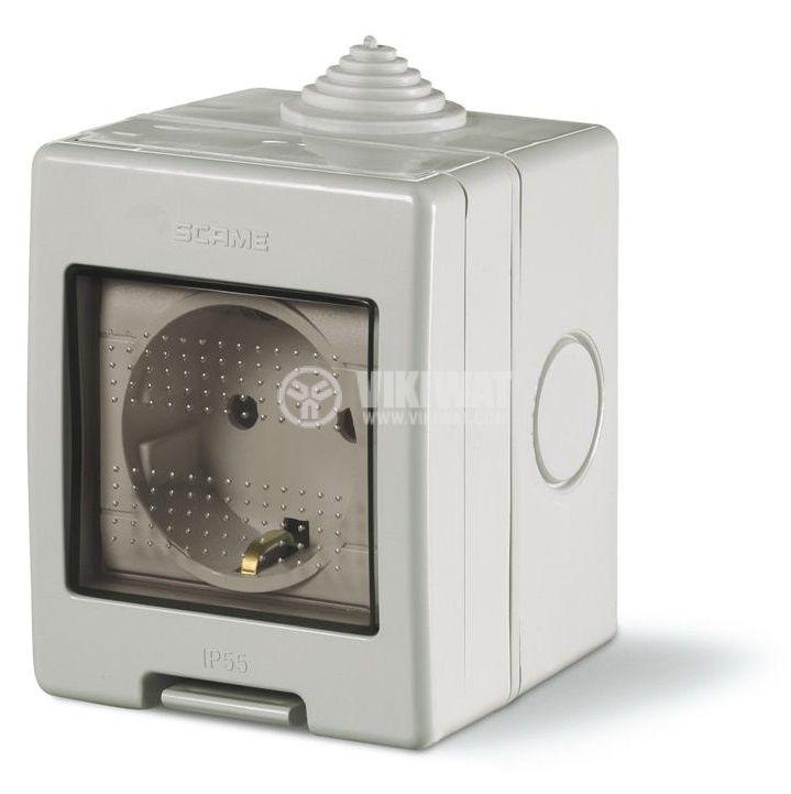 Електрически контакт с капак, единичен, 16A, 250VAC, IP55, за външен монтаж, сив, Unibox, SCAME 136.5122-412