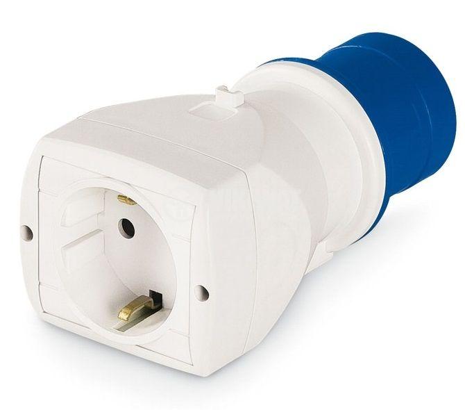 Индустриален преходник CEE 2P+E 250VAC/16A към контакт Шуко, SCAME 610.373