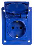 Електрически контакт с капак, единичен, 16A, 230VAC, IP54, за вграждане, син, DOMO, SCAME 570.4061